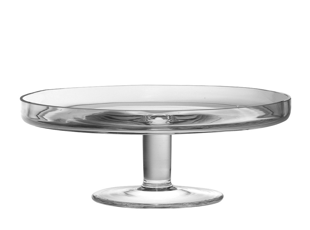 Barski Hand Made Footed Cake Plate Mouth Blown Glass 11 Diameter Stand Made in Europe European Quality