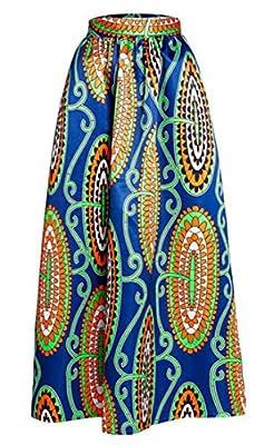 XQS Womens Swing Dashiki High Waist Pleated Maxi African Print Skirt