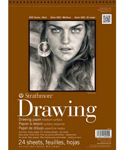 Strathmore 14-Inch by 17-Inch Drawing Medium Paper Pad, 24-Sheet