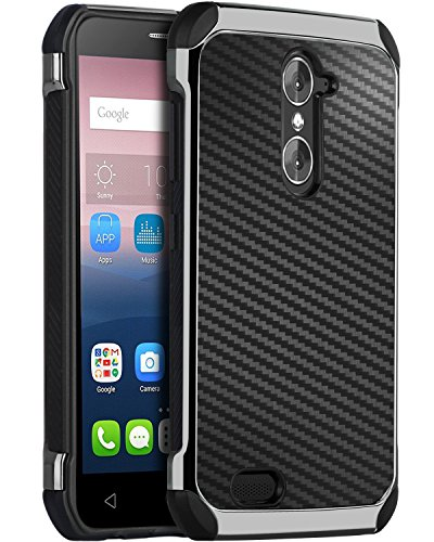 ZTE Grand X Max 2 Case, ZTE Imperial Max Case, BENTOBEN Shockproof 2 in 1 Hybrid Hard PC Carbon Fiber Texture Chrome Protective Case for ZTE Grand X Max 2 / Kirk Z988 / Duo LTE Z963U - Lte Grand X Max Cases