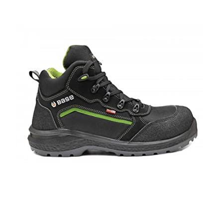 02267408050 BASE PROTECTION BAS-B898-8 Waterproof Safety Boots, Black/Green, Size 8