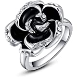 Rose Gold Plated Diamond Black Roses Rings