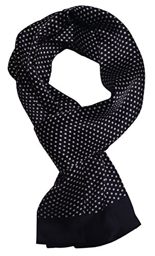 Pure silk scarf wrap Accessory gift (BlackWhite Polkadot) ()