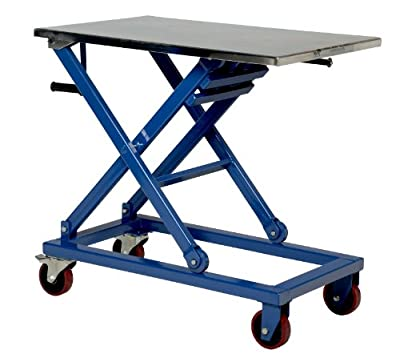 "Vestil CART-660-M Steel Mechanical Scissor Cart, 660 lbs Capacity, 37"" Length x 23-1/2"" Width Platform, 17-1/4 - 39-1/4"" Height Range"