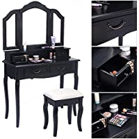 Eight24hours Tri Folding Mirror Black Wood Vanity Set Makeup Table Dresser 4 Drawers + Stool - V1