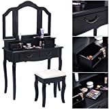 Folding Table and Chairs At Target Eight24hours Tri Folding Mirror Black Wood Vanity Set Makeup Table Dresser 4 Drawers + Stool - V1