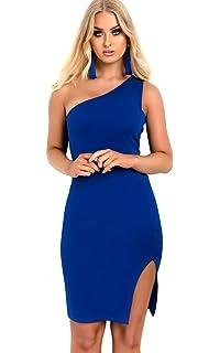 3b189ab8b9e7 Ikrush Womens Emy Knitted Side Split One Shoulder Dress White ...