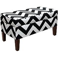 Skyline Furniture Storage Bench, Canopy Stripe Black/White
