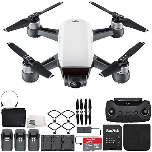 DJI Spark Portable Mini Drone Quadcopter Fly More Combo Ultimate Bundle (Alpine White)