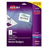 Avery White Adhesive Name Badges, 2-1/3