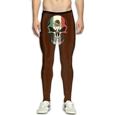 GUOJJPOP Men's Mexican Flag Skull Joggers Body Building Slim Fit Tight Workout Sweat Pants