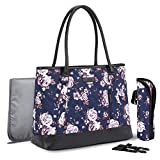 NiceEbag Diaper Bag Stylish Diaper Tote Bag Nappy Bag with Insulated Pocket & Changing Pad for Baby Care Multi-Function Shoulder Bag for Women & Men Travel/Outing with Baby Boys Girls,Blue Rose