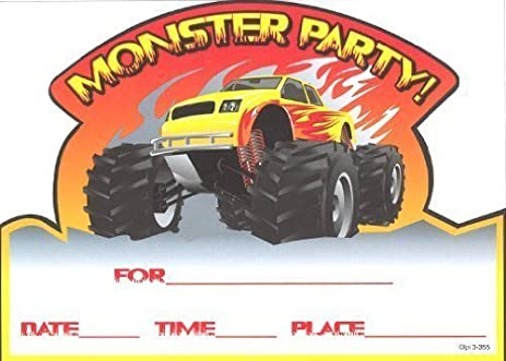 Boys Monster Truck Invitations, Fill-In Style, 8 Pack