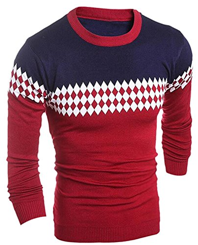 Labaqiangj Men Wild Slim Fit Stylish Long Sleeve Pullovers Sweater 1US X-S=China M (Morph Suit Price)