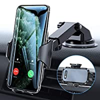 VICSEED Car Phone Mount, [Thick Case & Big Phones Friendly] Long Arm Suction Cup Phone Holder for Car Dashboard Windshield Air Vent Hands Free Clip Cell Phone Holder Compatible with All Mobile Phones