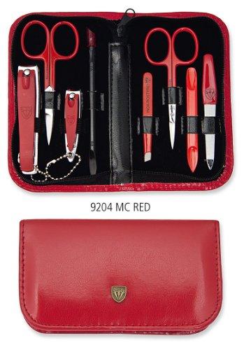 3 SWORDS ALLEMAGNE PRIX HIT - 8 Piece pédicure manucure & Kit, en cuir artificiel de haute qualité en rouge, Qualité: trois épées qualité