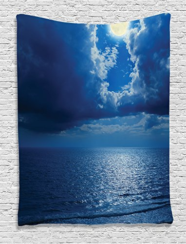 Ocean Collection Romantic Full Moon between Clouds Over a Quiet Sea Picture Kids Girls Boys Navy Blue White Supersoft Throw Fleece Blanket 59.05x78.74 Inches