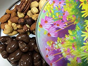 Chocolate Covered Cashews with Deluxe Mixed Nuts in a Spring Gift Tin — Handcrafted Treats for Mother's Day from Nut Roaster's Reserve