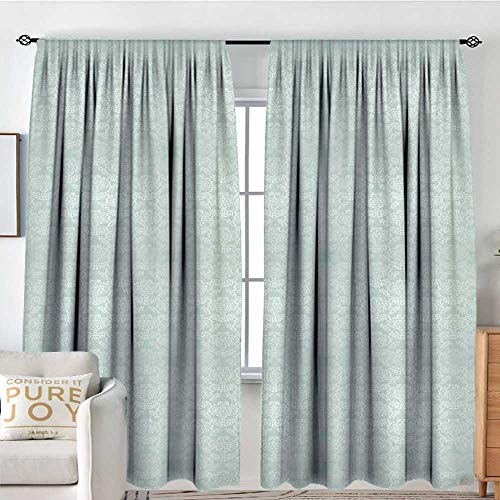 Window Curtains Victorian,Damask Style Vintage Pattern with Antique and Baroque Foliage Motifs,Almond Green and White,for Room Darkening Panels for Living Room, Bedroom 60