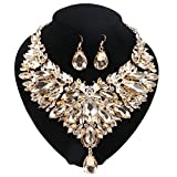 Women 18K Gold Plated Rhinestone Crystal Pendant Necklace Earring Jewelry Sets (Champagne)