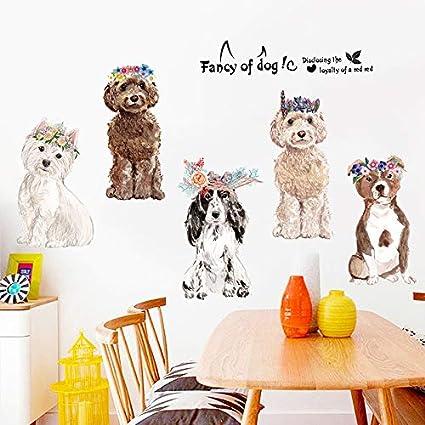 Guardaroba Per Cani.Carino Fiore Barboncino Cani Wall Sticker Per Bambini Camere