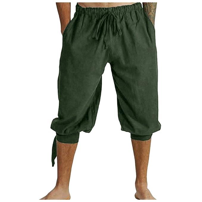 Ansenesna Pantalones Hombre Verano Cortos Moda Medievales para ...
