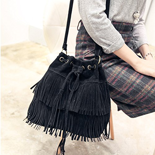 Womens Bucket body Brown Bag Black Tassels Shoulder Suede Bag Bag Shoulder black Faux Fringe Brown Khaki Cross pA5WwTxUq1
