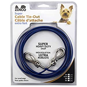 Ben-Mor Zinco Strong Tie-Out Cable 360 Degree Rotating Double Swivel Connector for Dogs 8
