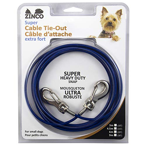 Ben-Mor Zinco Strong Blue Zinco 15' TIE-Out Cable 360 Degree Rotating Double Swivel Connector for Small Dogs (