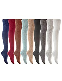 Lian LifeStyle Big Girl's Women's 3 Pairs Fashion Thigh High Cotton Socks JMYP1025 Size L/XL(US)