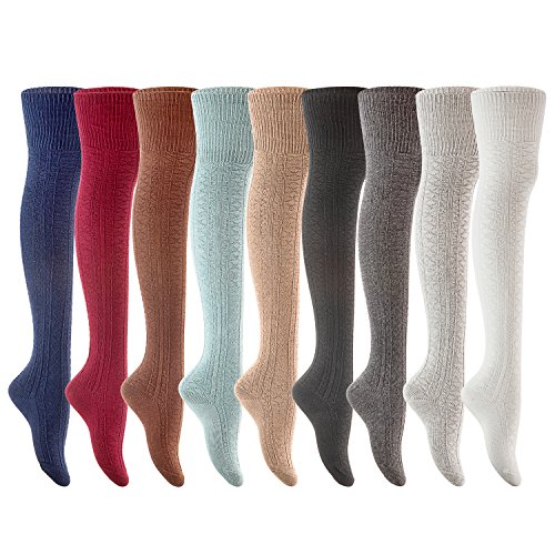 Lovely Annie Women's 3 Pairs Fashion Thigh High Cotton Socks Size 6-9(Random - Striped Winter Tights