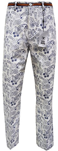 Stacy Adams Men's Cotton Pant, Paisley Design (42, Navy)