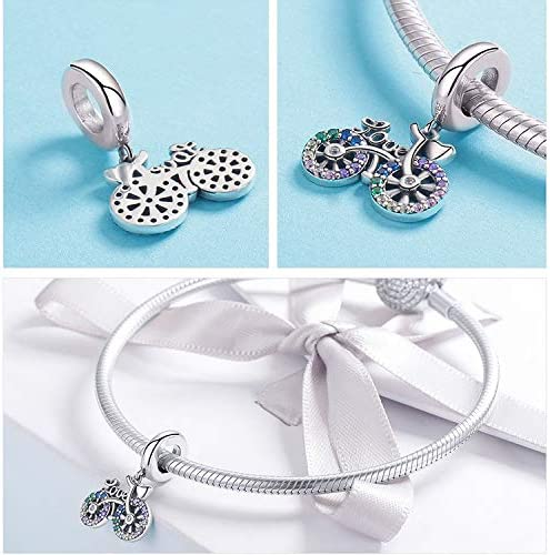 JAJAFOOK 925 Sterling Silver Fashion Color Bicycle CZ Bead Charm for Women Snake Bracelet Charm