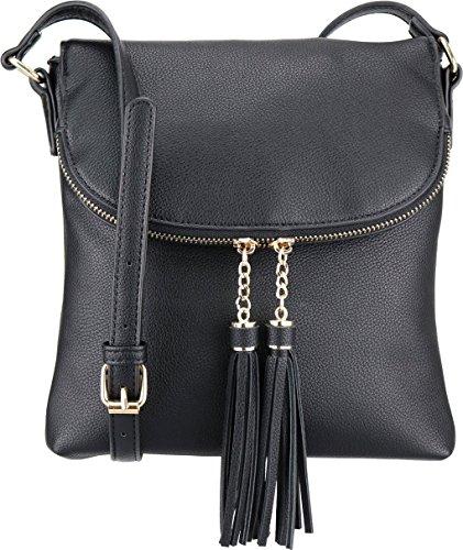 B BRENTANO Vegan Medium Flap-Over Crossbody Handbag with Tassel Accents (Black.)