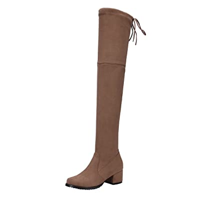 DAMEN PLATEAU OVERKNEES Stiefel Velours Boots Blockabsatz