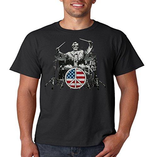 Patriotic T Shirt Rock 101 Abraham Lincoln Drums Mens Tee S-5XL (Black, 3XL) (Abe Rocks)