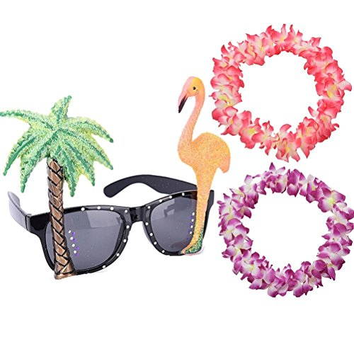 Eshylala Flamingo Sun Glasses & 2 Pieces Hawaiian Necklace Leis Flower Garlands for Hawaiian Fancy Dress Costume Party Specs -
