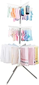 Hershii 3 Tiers Collapsible Clothes Drying Rack Folding Tripod Laundry Garment Storage Hanger Organizer Indoor Outdoor Space Saver with 48 Clips & 16 Towels Bars - Ivory