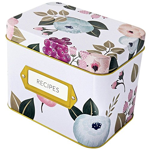 Tin Recipe Box - Recipe Box With 24 Cards & 12 Dividers by Polite Society (White Tin)