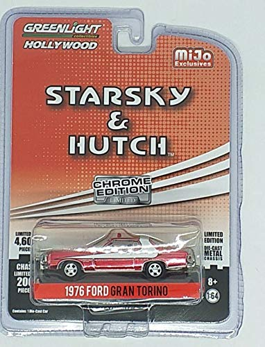 Greenlight 1976 Ford Gran Torino Chrome Red Edition Starsky & Hutch (1975-1979) TV Series Limited Edition to 4, 600Piece Worldwide 1/64 Diecast Model Car 51224