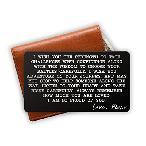 Engraved Stainless Steel Wallet Card Insert - Son Gift Idea from Mom - Unique Mini Love Note to Son from Mother - Graduation Gift - Coming of Age Gift (Black)