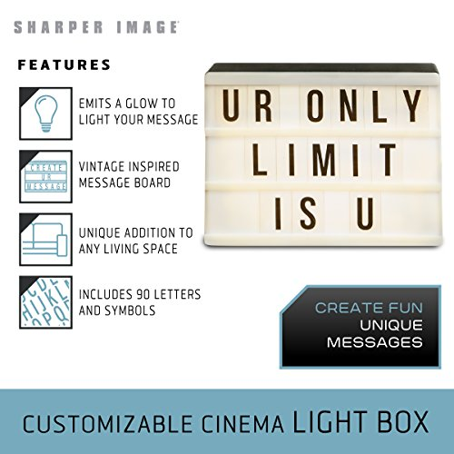 Sharper Image Cinematic Light Up LED Letterbox, Message Board Letter Box  Sign with Marquee Letters and Emoji, Bedroom and Wall Decor for Teen Girls