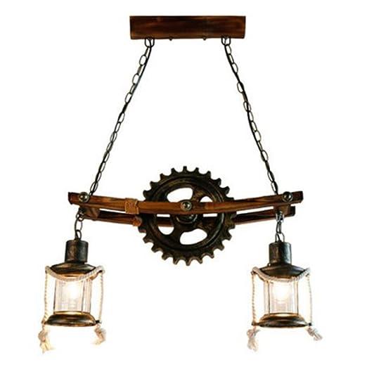 HWH Lámpara de cáñamo de loft retro Loft, Araña de la barra ...