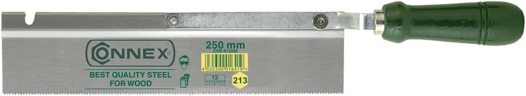 Connex COX811250 Scie /à dos plat avec manche en bois 13 dents par pouce 250 mm Droit