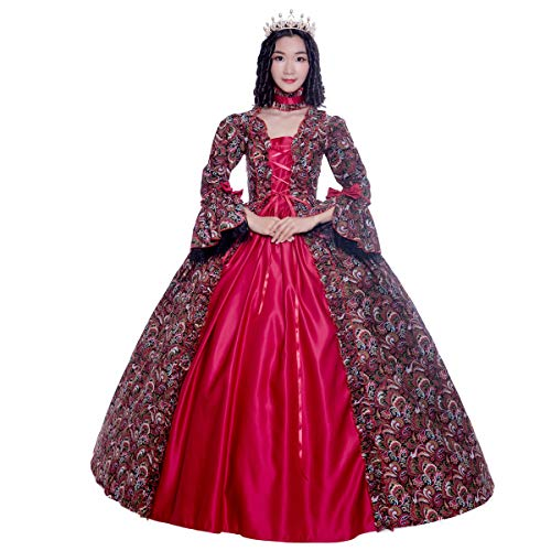 Colonial Georgian Penny Dreadful Victorian Dress Gothic Period Ball Gown Reenactment Theater Costumes (S, Red) -