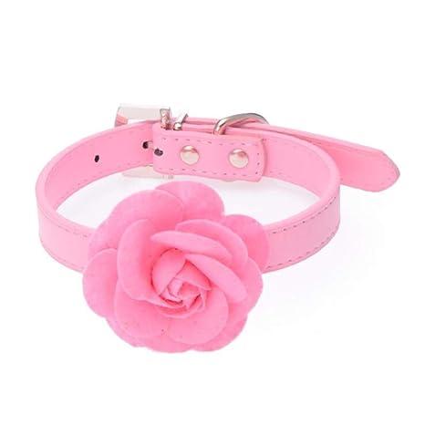 SEBAS Home Perro Collar de Gato Rosa Cuero de PU Collares de ...