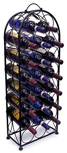 Sorbus Wine Rack Stand Bordeaux Chateau Style - Holds 23 Bottles of Your Favorite Wine - Elegant Looking French Style Wine Rack to Compliment Any Space - No Assembly Required (Black) (Metal Rack Wine Floor)