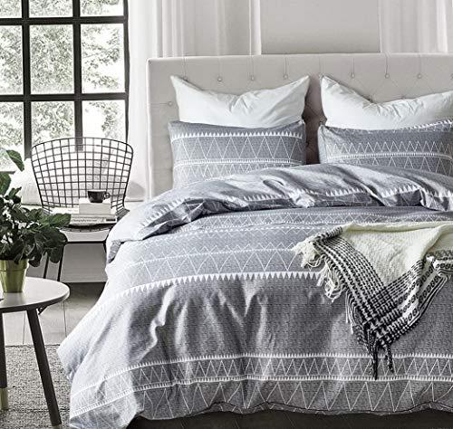Hemau Premium New Soft Bohemian Kids Grey Set Twin Soft Grey Triangle 3PC Comforter Cover Set(Twin) | Style 503194779