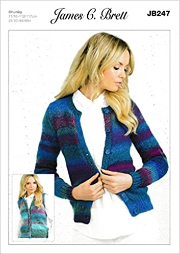 6999db162ab7f Ladies Cardigans and Waistcoats JB247 Knitting Pattern from James C Brett.  Knit with Marble Chunky wool. Sizes 71-117cm 28-46 inch  Amazon.co.uk  Books