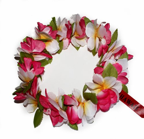 The Hawaii Elastic Headband-haku lei (Pink /white)